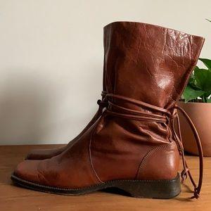 Cognac Leather Wrap Tie Square Toe Boot 9.5